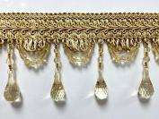10cm Crystal Beaded Tassel Fringe Trim TF-46/12 Antique Gold