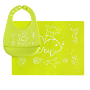 Silicone Placemat and Bib with Pocket Set for Baby, Kids - Food Grade, Reusable, Unisex, Green Fish