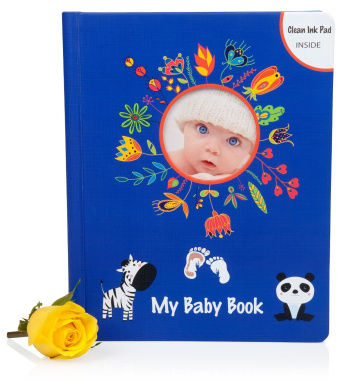 (#1 Release) BABY MEMORY BOOK with Clean Touch Ink Pad & Keepsake Pockets - First 5 Years - Colour. Fun. Modern - Perfect for Boys and Girls - - 100% Happiness Guaranteed by LOLA CHENG