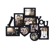 I Love You Picture frame Puzzle Collage frame, Dimensional, Holds 8 Photos, Easy to Hang, Black Nice Finish! Memory Keepsake! puzzle design collage, modern art.