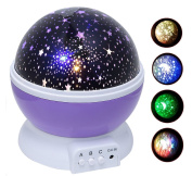 Star Light Projector, star light lamp, Night Lighting Lamp [4 LED Beads, 3 Model Light, USB Cord ] Toullfly® colourful Night light, Romantic Rotating Starry Sky Projector for Kids Baby Bedroom