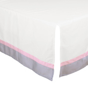 White Tailored Crib Skirt with Grey and Pink Trim by The Peanut Shell