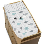 Nature Birds Arrows Baby Changing Pad Cover for Turquoise Blue and Grey Earth and Sky Collection