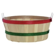 Shallow Bushel Basket, Plain with Red and Green Bands