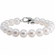 White Freshwater AA Quality Cultured Pearl Bracelet with a 925 Sterling Silver Clasp (9-10mm) 7.5""