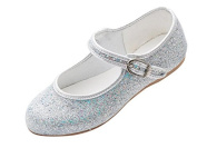 Girls Silver Glitter Bridesmaid Party Fancy Dress Ballerina Flat Shoes Louise