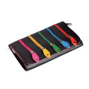 Funky Kitsch 5 Multi-Colour Zip Black Clutch Bag with Shoulder Strap Handbag