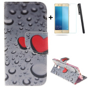 Huawei P9 wallet Case,Huawei P9 flip Case,Tebeyy Red Love Heart Printing Drawing Design Pattern PU Leather Wallet Case Credit Card Holder Slot Protective with Stand Function Case Cover for Huawei P9 + 1x Screen Protector +1x Stylus Pen