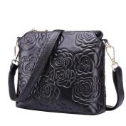 Moonsister Fashion Black Camellias Flower Genuine Leather Shoulder Bag, Ladies Women Out Shopping Street Bag Handbag