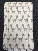Deluxe Unisex Baby Waterproof Changing Mat with Raised Edges - Unique White and Grey Giraffe Design