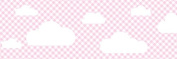 lovely label border, self-adhesive, 450 x 11.5 cm, cloud design pink/chequered