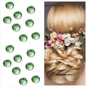 """Jewels kit """"Wedding 48. Rhinestones LIGHT GREEN 4 mm (Diameter). 48 Slip Green Clear. Crystal Diamante Hair Tattoos 4 Sheets provided) Professional Quality Ultra. Separables Tabs. Cold without Heat. Fit Inside Crystal Barber Hair One .."""