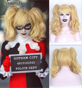 StrongBeauty Cosplay Wigs Clip In Ponytail Extension Batman Suicide Squad Blonde Wavy Wig