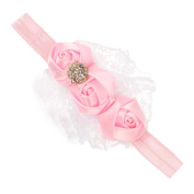 VANKER Cute Adorable Child Baby Girl Lace Flower Headband Soft Elastic Hair Accessory Pink