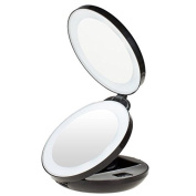 KEDSUM 1X/10X LED Lighted Travel Makeup Mirror- Double Sided Folding Handheld Magnifying Mirror