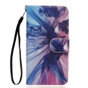 ISAKEN Samsung Galaxy A3 Case, Galaxy A3(2016 VERSION)Flip Cover, Luxury Elegant Printing Drawing Design Pattern Case Magnetic Flip Protective Cover Executive Wallet Bool Style PU Leather Cover with Credit Card Holder slots for Galaxy A3 2016 - pink+blue