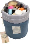 HOYOFO Multi-pockets Barrel drawstring Comestic Bag Organiser Toiletry Wash Pouch,Blue