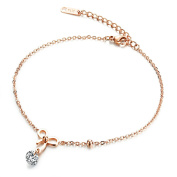 Fate Love Jewellery Women's Rose Gold Plated Foot Chain Bling Bowknot Anklet with Cubic Zirconia, Fit 7.87-25cm