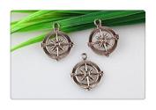 3pcs Wholesale~antique Bronze Compass Pendant , Diy Supplies, Jewellery Making 25x30 Mm