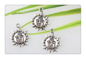 3pcs Own Charm~ Antique Silver Sun Charms Pendant Jewellery Supplies Findings Drops 19*23mm