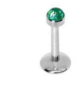 Green Internally Threaded 316L Stainless Steel Labret / Monroe Lippy Loop Bar with Synthetic Opal Top