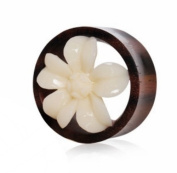 "9/16""GA 14mm Organic Buffalo Bone Flower Blossom Sono Wood Saddle Plug Flesh Tunnel Ear Gauge Earring"