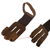 toparchery Archery Protective 3 Finger Gloves Tab Guard Gear Cow Leather Brown Handmade Hunting Shooting Bow