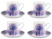 Roy Kirkham Set of 4 Alliums Coffee Can Cups & Saucers