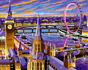 CaptainCrafts New Paint by Numbers 41cm x 50cm for Adults, Kids LINEN Canvas - Love Stole London, Ferris Wheel Purple City