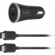 Belkin USB-C Car charger with 1.2M USB-C  to USB-C cable (15W ) -Black -Perfect for Mobile Phone