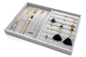 PuTwo Jewellery Organiser Lint Drawer Organiser Display Box Birthday Gifts for Her - 2 Sections
