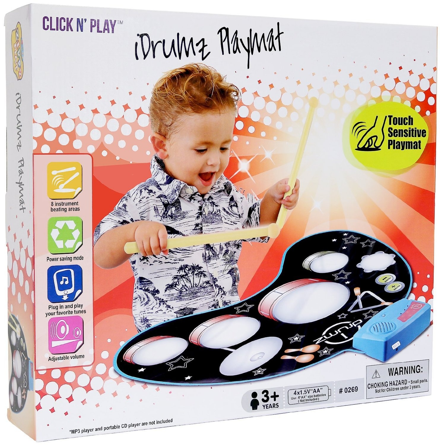 Click n' Play Electronic Drum Kit Set Play Mat With Drumsticks