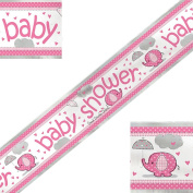 3.7m Pink and Silver Foil Elephants, Hearts and Umbrellas Baby Shower Banner - Ideal for a baby girl's shower, Perfect for decorating your special day, Coordinate with other Pink decorations