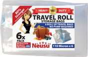 Neusu Roll Up Travel Vacuum Bags - 6 Pack - Heavy Duty 110 Micron Storage Bags