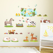 Decowall, DW-1403, Field of Animals Wall Stickers