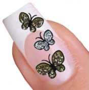 Gold and Silver Glitter Butterflies with Rhinestones Nail Stickers Art / Decals