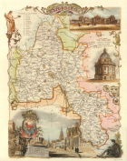 Oxfordshire Reproduction Antique Map, Retro Reproduction Oxfordshire Map, Thomas Moule Maps
