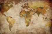 World map photo wallpaper - vintage retro motif - XXL world map mural - wall decoration 210cm x 140cm