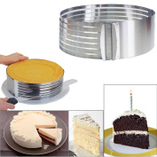 Gosear®15-20CM Stainless Steel DIY Adjustable Retractable Circular Ring Cake Layered Slicer Baking Tool Kit Set Mousse Mould Slicing for Home Kitchen