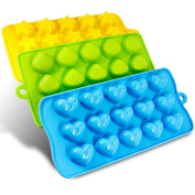Silicone Moulds- SENHAI 3 Pack Candy, Chocolate Moulds Ice Cube Trays - Hearts, Stars & Shells, Fun, Toy Kids Set