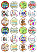 24 Sorry You're Leaving Good Luck Edible Wafer Paper Cup Cake Toppers