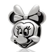 Minnie Mouse Charm / Bead in Solid Sterling Silver Hallmarked 925, Compatible with well known makes of Charm Bracelets and Charm Necklaces.