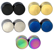 5 Pairs Circle Magnet Clip On Non Piercing Fake Cheater Illusion Plugs Stainless Steel Unisex Earrings Set