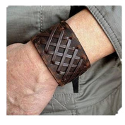 Jirong Antique Men's Brown Leather Cuff Bracelet, Leather Wrist Band Wristband Handcrafted Jewellery SL2259