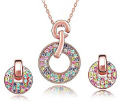 ladies rose gold plated Rainbow Multicoloured circular necklace + earring