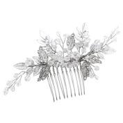 Vintage Silver Hair Combs Slides Simulated Crystal Rhinestones Leaf Women Wedding Accessories