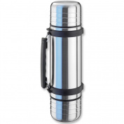 Isosteel Duo Vacuum Flask with Screw Cap and Drinking Mugs, Stainless Steel, 1 Litre