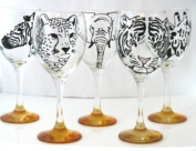 Orange 'Tiger' Hand Painted 340ml Wine Glass by Memories-Like-These UK