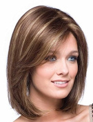 UPTOP Hair ® Synthetic Full Wig, Gold Shoulder Length Straight Synthetic Fabulous Medium Wig For Woman