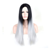 CosHouse 2016 New Cos Hair Women Girls Black and Silver Wigs Sexy Long Straight Cosplay Wigs Fashion Fancy Costume